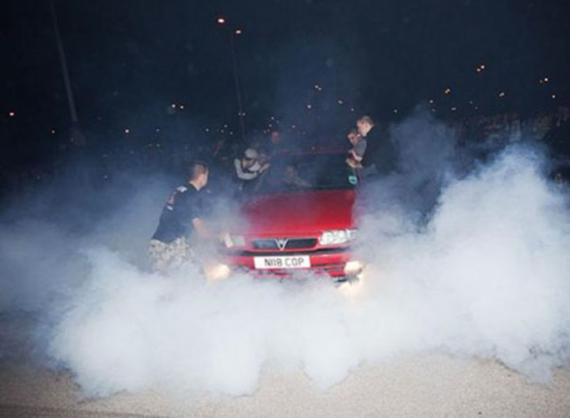 Modified Car Cruise Burnout